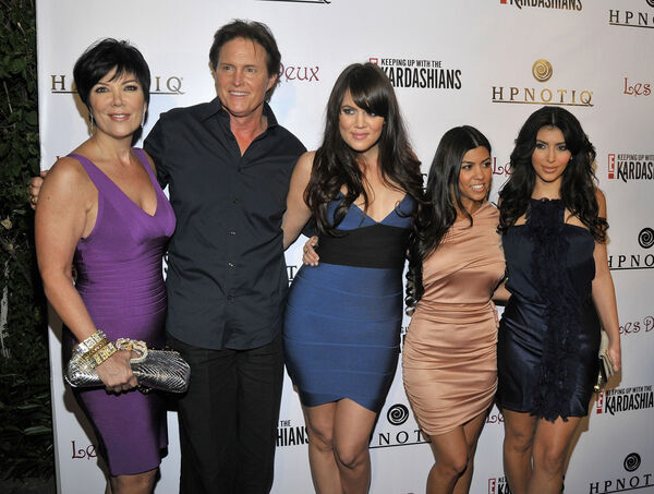 Kardashians in 2008: Kris Jenner, Bruce Jenner, Kourtney Kardashian, Khloe Kardashian, and Kim Kardashian attend the season two launch of 'Keeping Up With The Kardashians'in Hollywood, California. (Photo by Charley Gallay/Getty Images)
