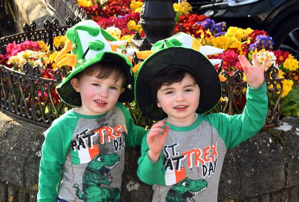 Twins Jaime and Jack Hally, Cobh, enjoying the sunshine on St. Patrick's Day in Cobh, Co. Cork.