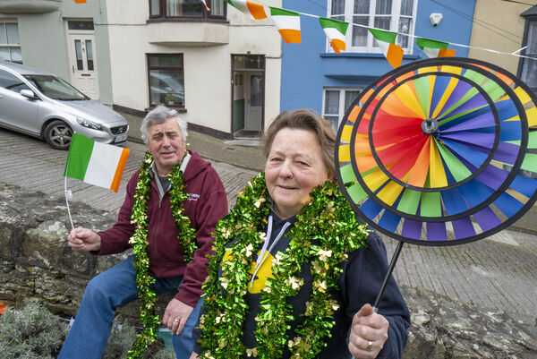 Ray and Ursula Duffy in the process of decorating the 1916 memorial park for St. Patrick's Day on Barrack Hill, Cobh. Picture Dan Linehan