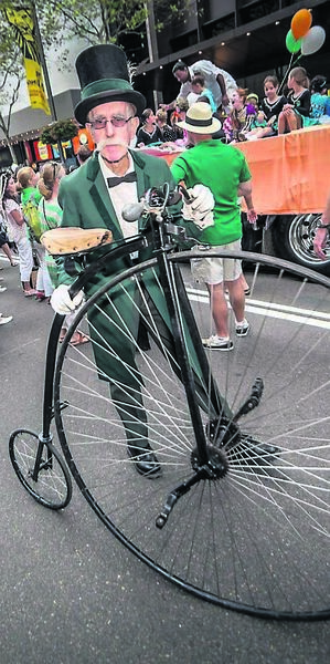 GREEN DAY: A Penny Farthing bicycle at the Sydney St Patrick's Day Parade in Australia in 2014