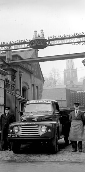 The gate of Murphy's Brewery, Cork, on March 16, 1956 — the pubs used to shut on March 17 each year, but a few hardy souls would find a way to get a pint!