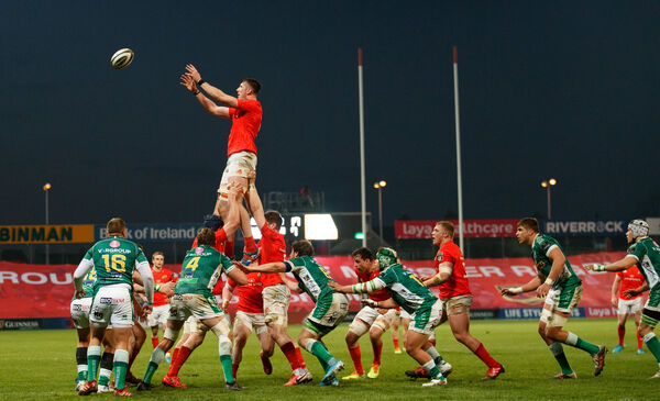Munster's Thomas Ahern wins a line-out. Picture: INPHO/James Crombie