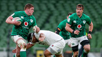 Tadhg Furlong comes up against Mako Vunipola and offloads to CJ Stander 20/3/2021
