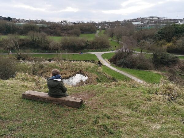 An individual recently installed a makeshift bench from a wooden sleeper at Glen River Park. Picture: Cllr Oliver Moran