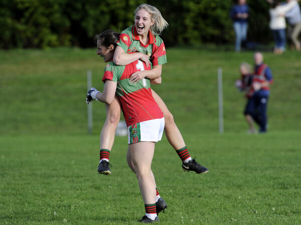 Clonakilty's Martina O'Brien and Meabh O'Donovan celebrate after defeating Glanmire. Picture: Gavin Browne