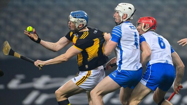 TJ Reid of Kilkenny in action against Shane McNulty and Tadhg de Búrca of Waterford. Picture: Ramsey Cardy/Sportsfile