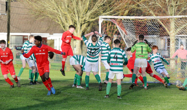 Kilreen players celebrate the winning goal against Kanturk by Sandro Tavares in the Daly Industrial Supplies U17 League 1 game in 2019. Picture: Denis Minihane.