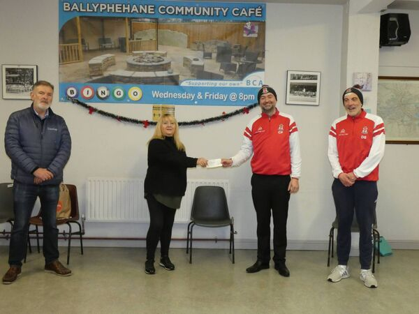Kilreen Celtic FC academy schoolboys teams raised €400 over Christmas for Ballyphehane meals on wheels. They presented the cheque to the chairperson of Ballyphehane Community Centre, Carmel Forde and manager Pat O'Donoghue at the Ballyphehane Community Centre.