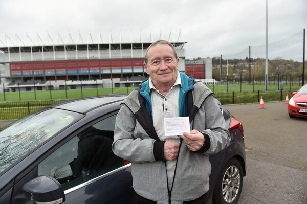 Aidan Clarke, Alzheimers Society of Ireland with her vaccination card leaving the healthcare workers vaccination clinic which opened at Páirc Uí Chaoimh, Cork. Picture Dan Linehan