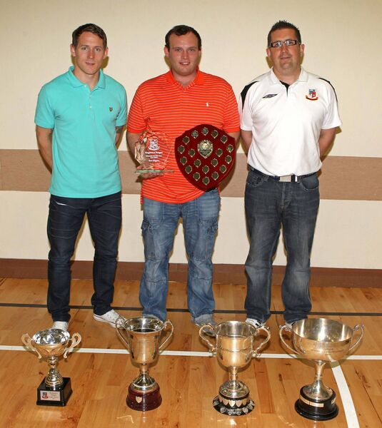 Paul Higgins, with Joe Gamble and Kieran Brett at a Ringmahon awards ceremony. Picture: Jim Coughlan.