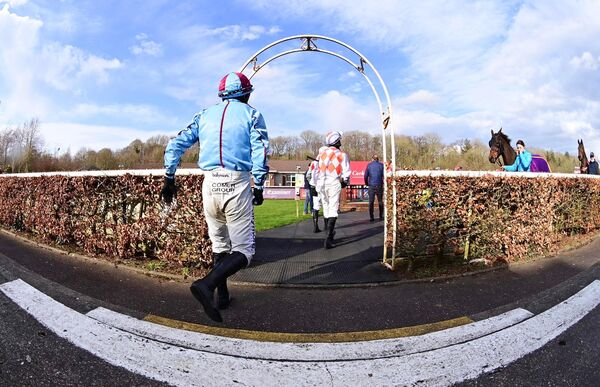 Jockeys enter the parade ring before the Fermoy Handicap Hurdle. Picture: Healy Racing.