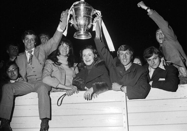 FAI Cup Final hat-trick hero Miah Dennehy, left, celebrates with his captain Dave Bacuzzi following the team's homecoming in 1972.