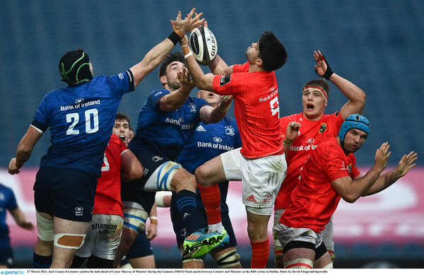 Jack Conan of Leinster catches the ball ahead of Conor Murray of Munster. Picture: David Fitzgerald/Sportsfile