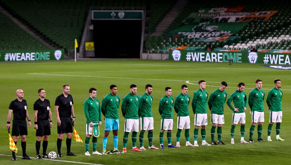 The Ireland team during the national anthems
