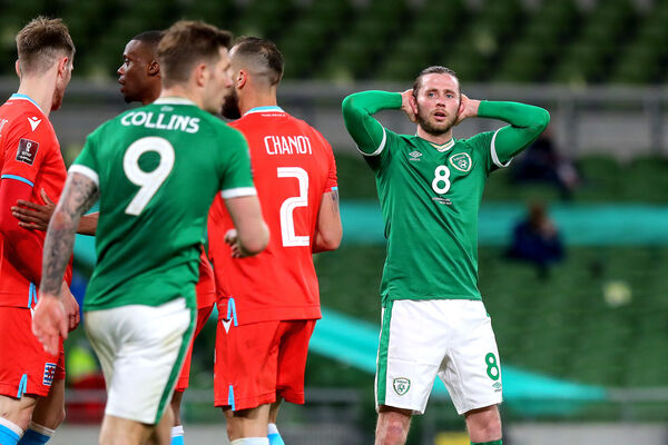 Ireland's Alan Browne reacts to a missed shot on goal