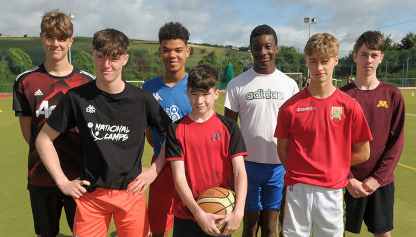 Sam O'Regan, Aodhagan O'Donovan, Brendan Douanla, James Gabriel, Isaac Eroutteh, Jamie Cotter and Nathan Kruschke, all from Ballincollig, at the 'Shooting Stars' basketball camp at Coláiste Choilm, Ballincollig, in 2018. Picture: David Keane.