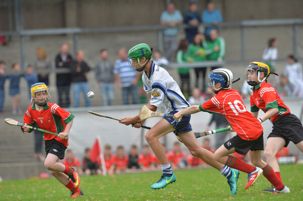 Jamie Cotter, Frankfield NS, breaking past Aidan Power, Scoil Naomh Iosaf, Riverstown, in the 2017 Sciath na Scol final. Picture: Dan Linehan