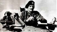 World War II. General Bernard Montgomery pictured in a turret of a tank during the advance on El Alamein during the Middle East