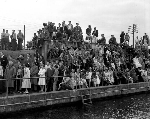 Watching the action at the National Swimming Championships at the Lee Baths in April 1957.
