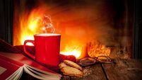 Hot tea or coffee in a red mug, cookies, book and fireplace