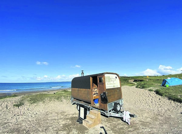 COASTAL HAVEN: The warming wagon on the beach