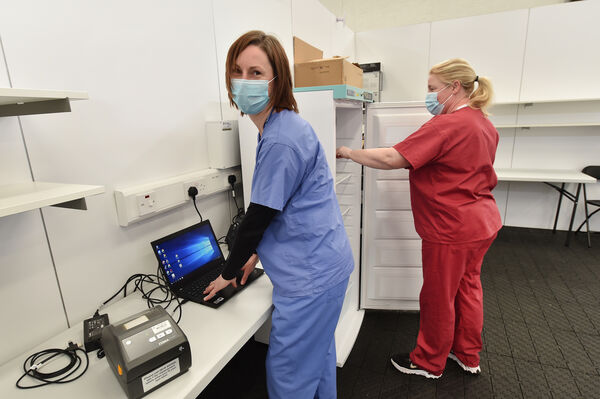 Public Health Nurses Mairead Finn and Catherine Buckley in the vaccine preperation room at the new Covid-19 vaccination clinic at the GAA complex in Mallow, Co Cork which will open in the next fortnight. Picture Dan Linehan