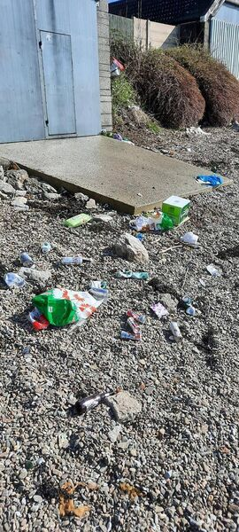 Litter at Whitepoint Strand on Sunday. Pic courtesy of Cobh News
