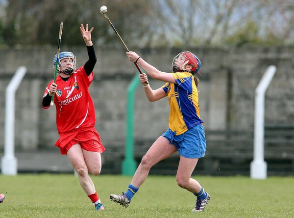 Cork's Briege Corkery and Niamh O'Dea of Clare battle for the sliotar. Picture: INPHO/Lorraine O'Sullivan