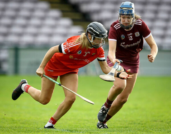Galway's Niamh Hanniffy and Laura Treacy of Cork. Picture: INPHO/Lorraine O'Sullivan