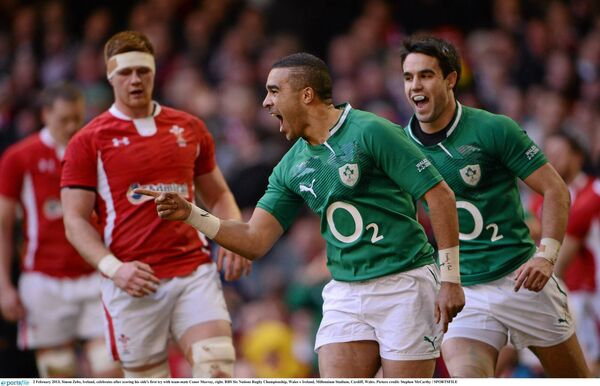 Simon Zebo celebrates after scoring against Wales in 2013. Picture: Stephen McCarthy/SPORTSFILE