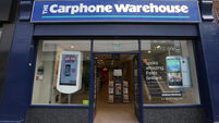 FILE PHOTO Mobile phone retailer Carphone Warehouse has announced it will close all its stores and online business in Ireland, l