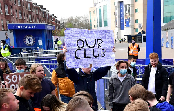 Fans protest against Chelsea's involvement in the new European Super League (ESL) outside Stamford Bridge, London prior to their game against Brighton. Picture: Ian West/PA Wire
