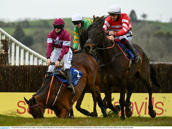 Game Of War parts company with jockey Rachael Blackmore at the last during the Green Acre Marketing Handicap Steeplechase at Tramore Racecourse in Waterford last Sunday. Picture: Harry Murphy/Sportsfile