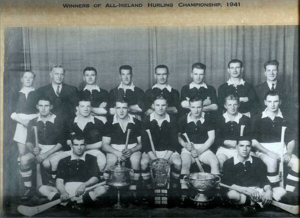 Cork All-Ireland Hurling Champions 1941. Back: Din Joe Buckley, William Walsh (chairman), Jim Buttimer, Billy Murphy, Micka Brennan, Jack Barrett, Batt Thornhill, Jim Barry. Sitting: Alan Lotty, Johnnie Quirke, Ted O'Sullivan, Con Buckley, Christy Ring, Jim Young, Jack Lynch. Front: Willie Campbell, Con Cottrell.