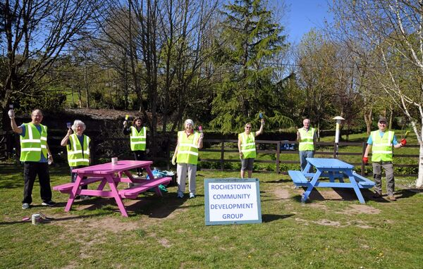 Painting picnic tables with Rochestown Community Development Group at Rochestown village green in Cork were (from left) John and Helen Fox, Joanne O'Callaghan, Liz Horgan, Marie Kenneally, Donal Collins and Pauric Macklin, chairman. Picture Denis Minihane.
