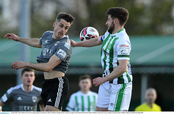 Jack Walsh of Cork City in action against Aaron Barry of Bray Wanderers. Picture: Matt Browne/Sportsfile