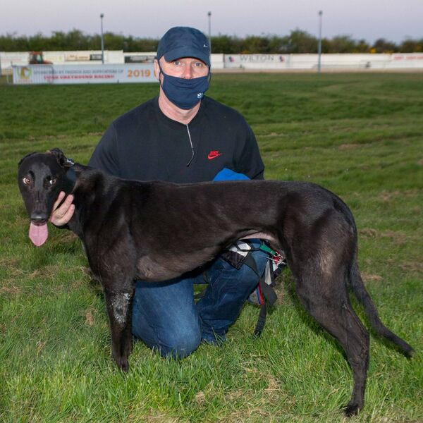 Zoom, Winner of the third heat of the first round of the 2021 Greyhound and Petworld supersprint. Photographed with Murt Leahy. Curraheen Park