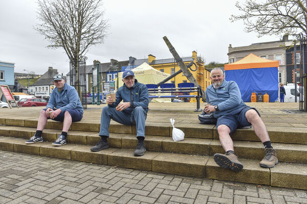 Its time for a coffee break for the three local postmen Fintan Collins, Paddy Goggin and Danny Smith at the Farmers Market in Bantry, West Cork. Picture Dan Linehan