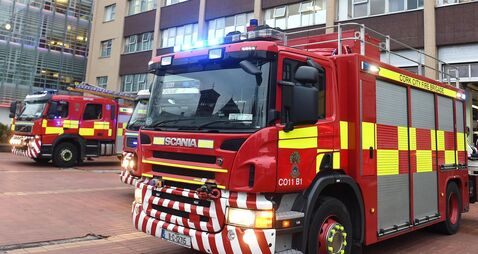 Emergency services dealing with collision in Cork