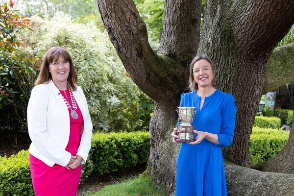 Pictured at Hayfield Manor, President of Network Cork Barbara Nugent with Tara Shine from Change by Degrees who won the STEM category and was the Overall Winner at Network Cork's Businesswoman of the Year Awards 2021. Picture Darragh Kane