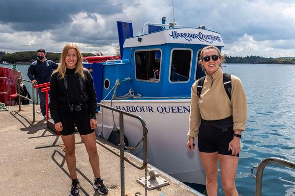 Laura Treacy, Killeagh and Orla Cronin, Ballineen prepare to board the Garinish Island ferry, Harbor Queen II.  Photo: Andy Gibson.