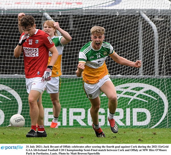 Jack Bryant of Offaly celebrates after scoring the killer late goal against Cork during the 2021 EirGrid GAA All-Ireland Football U20 Championship semi-final. Picture: Matt Browne/Sportsfile