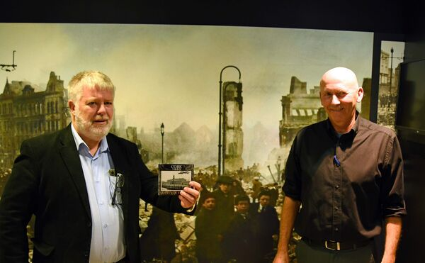 John O'Leary (left) and John Murphy, producers, at the 'Cork 1920: A City In Flames' CD launch in St. Peter's, Cork.